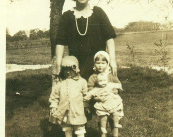 1920s Girls Holding Doll Toy Picture With Grandma Outside Antique Vintage Black White Photo Photograph