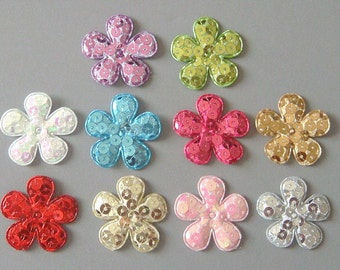 20 Padded Sequin Flower Appliques... 1 3/8 inch...Sewing... Craft ...EA141