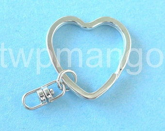 10 Key Rings with Swivel Connectors Heart Shape 32mm.....H40-10pc