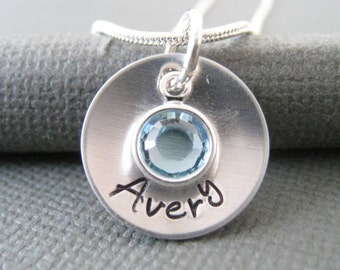 Hand Stamped Jewelry - Personalized Silver Necklace - Name Necklace - Engraved Necklace