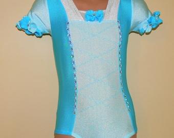 Dancewear. Dance leotard. Gymnastics Leotard. Princess Cinderella Inspired Short Sleeve Leotard. Performance Costume.  Size 2T - Girls 7