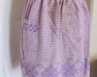 Dirty Vintage Cotton Half Apron - Purple Gingham Checks
