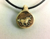Running Unicorn Rustic Clay Pendant Necklace-UMBER COLOR