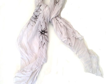 Light weight white scarf with dahlia print