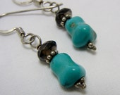 Blue Turquoise Nugget Smoky Quartz Sterling Silver Earrings Smokey Semiprecious Stone Beads