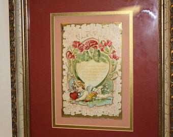 50% Off 1910 Valentine Framed in Gold Frame