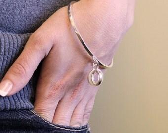 Silver Bangle - Sterling Bangle - Sterling Silver Bangle - Geometric Bangle - Silver Bangle with Geometric Charm - Sterling Silver Bracelet