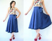 Vintage 80's Deep Royal Blue High Waist Taffeta Skirt / Full Skirt / Long Length / Ruffle Trim