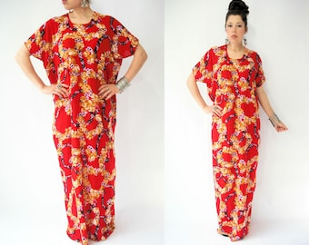 Vintage Vibrant Red Floral Print Draped Festival Caftan Dress / Long Maxi Length