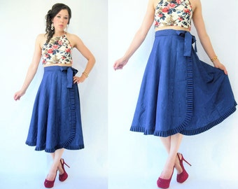 Vintage 80's Deep Royal Blue High Waist Taffeta Skirt / Full Skirt / Long Length / Ruffle Trim