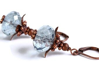 Lumi blue glass rondelle with antiqued copper earrings (420) - Flat rate shipping