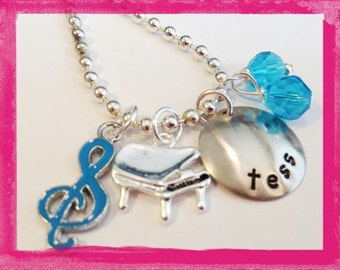 Personalized PIANO Necklace -  Hand Stamped Charm Necklace for Children - Customized Jewelry
