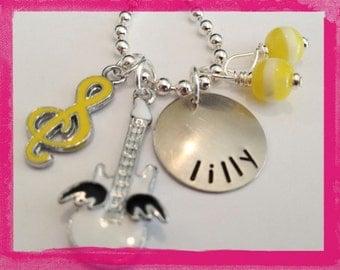 Personalized Guitar Necklace -  MUSIC To MY EARS - Hand Stamped Necklace for Children #M119