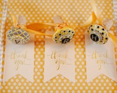 Bridesmaid Wine Stoppers, Party Favors, Painted in Yellow, Gray and White -FREE Thank You Tags