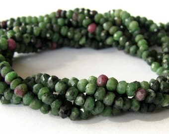 Natural Zoisite faceted rondelles - 13.5 inch strand with beads 3mm (3m3)