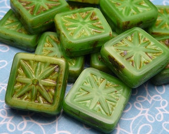Square Lime Satin Glass Beads 11mm - 4pc