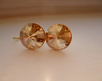 Champagne gold swarovski crystal gold plated brass earrings