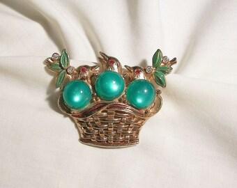 Incredible 3 chirping birds in a basket moonstone rhinestone enameled Brooch