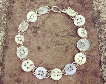 Vintage Bridal Bridesmaid Button Bracelet using vintage mother of pearl and modern buttons