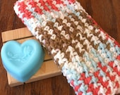 3 piece Gift Set.... Facial Cloth, Cedar Spa Soap Dish and Handmade Heart Specialty Shaped Soap