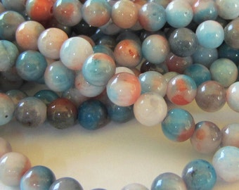 60 Jade Beads 6mm dyed organic earth colors stone beads  G-D264 assorted gemstone beads wrap bracelet making A4