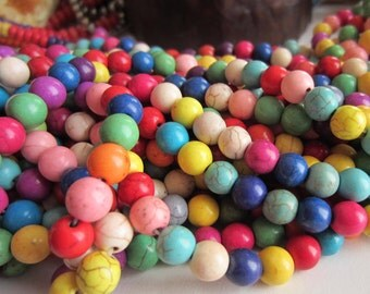 45 Multicolor Turquoise beads 8mm round  howlite gemstone DO39M(E4)