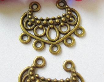 6 Bronze earring chandeliers bohemian gypsy tribal dangles 22mm x 19mm x 2.5mm 688yab (F7)