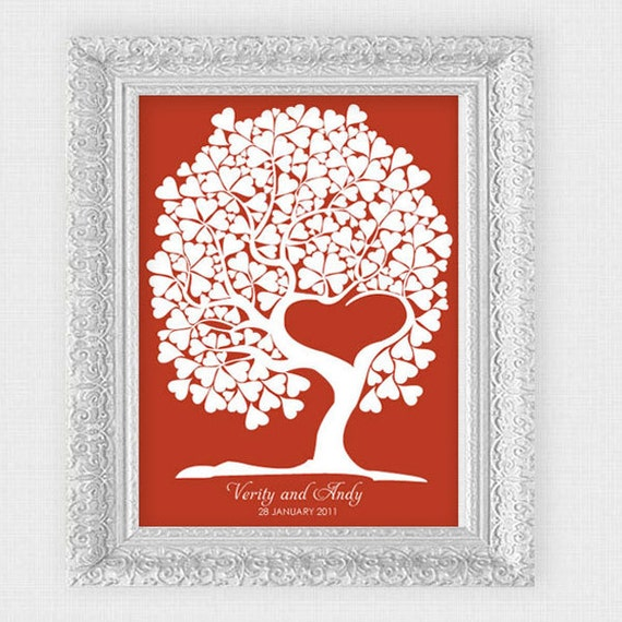 custom wedding guest book tree of love signature guestbook tree personalized diy printable file heart leaves keepsake wall art print red