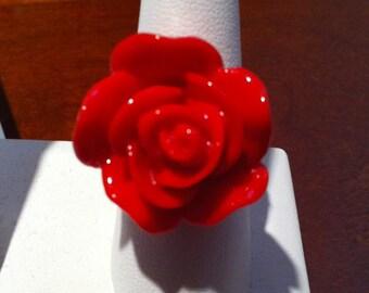 Red Rose Gold Filigree Adjustable Ring by Lauri Jon Studio City (TM)