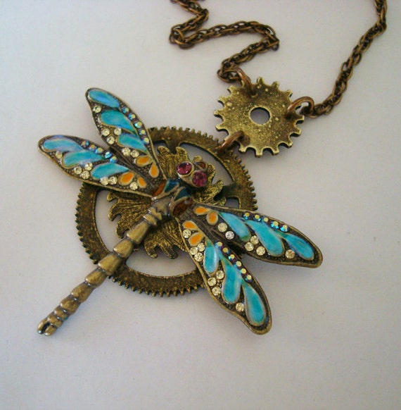 Exclusive Steampunk Dragonfly Necklace Jewelry Pendant and