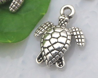 6 Tiny SEA TURTLE Charms Antique Silver Tone, Double-Sided, diy, US Seller