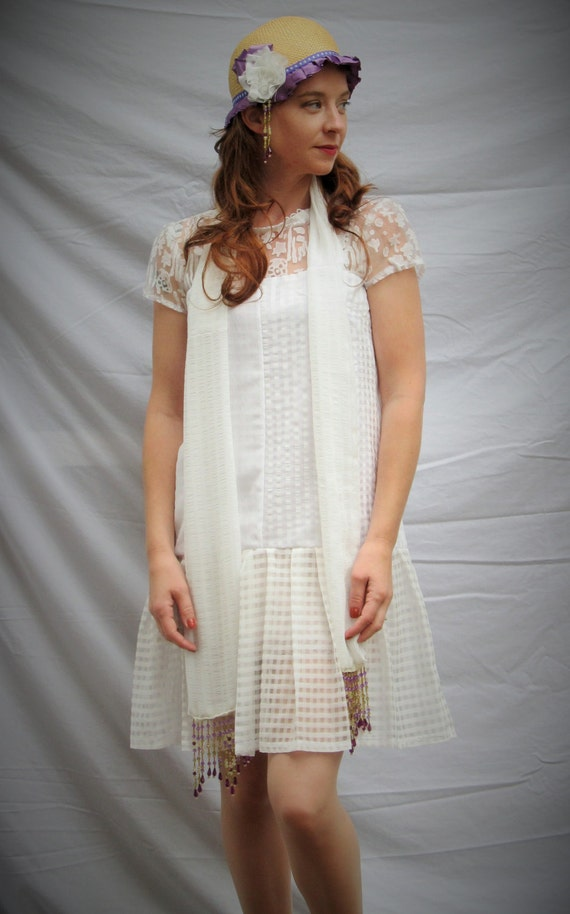 1920s Flapper style old Hollywood look tunic dress , for wedding or party sheer white fabric in different textures