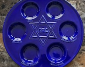 Hand Crafted Ceramic Cobalt Blue Seder Plate for Passover or Jewish Wedding Gift