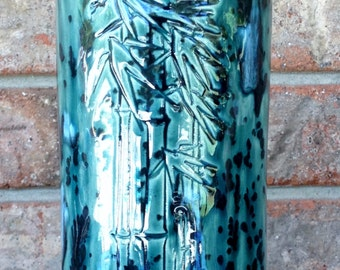 Handmade Extra Large Yarmouth Cape Cod Ocean Mist Bamboo Design Round Tooth Brush, Pencil, Shop or Studio Tools Classic Ceramic Holder