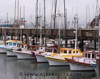 Photograph Print - Colorful Boats on a Foggy Day, San Francisco CA - sea ocean dock slip marina bay golden gate fog fisherman wharf pier