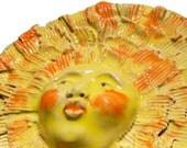 Ceramic sculpture, sun Face Mask, Wall sculpture, Garden art, wall hanging, Home decor,