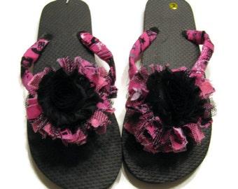 Flip Flops Decorated Black with Pink Black Floral Trim