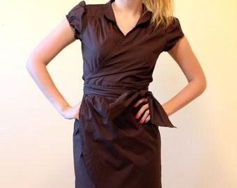 Wrap  Dress, Cotton Dress, Brown Dress, Short dress , Summer dress, Office dress, Waisted dress, 20 %  sale