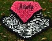 Zebra Baby Blanket- Zebra Minky Blanket- Zebra Minky-Hot Pink Minky Swirl -Satin Ruffle -  Personalized - Baby Girl - Toddler-Stoller-Crib
