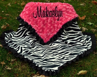 Zebra Baby Blanket- Zebra Minky Blanket- Zebra Minky-Hot Pink Minky Swirl -Satin Ruffle -  Personalized - Baby Girl - Toddler-Stoller-Crib
