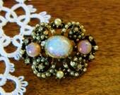 Vintage Seed Pearl and Pink Brooch