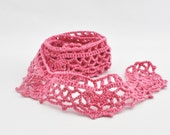 Crochet Border Trim - Lace - Cotton - Handmade Edging - Dark Pink - One Yard -