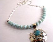 Chic 925 Sterling Silver Larimar Necklace W/Larimar Blue Topaz Pendant, 18 1/4 Inches