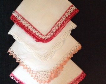 4 Vintage Crocheted Edged Handkerchiefs (H-11)
