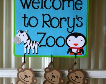 Zoo themed door sign/birthday party/decoration
