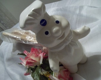 1980's Pillsbury Dough Boy Vintage Pottery Utensil Jar - Collectible - Advertising