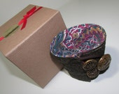 Vintage button Wrist Cuff, fabric cuff bracelet, vintage buttons,
