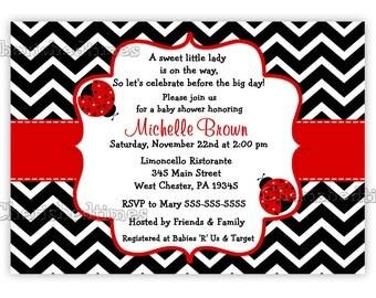 Chevron Ladybug Baby Shower Invitation (Digital File)
