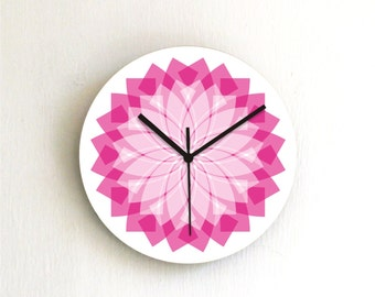 Purple Pink Pastel kitchen unique Geometric Modern living room bedroom office decorative handmade graphic design Wall Clock