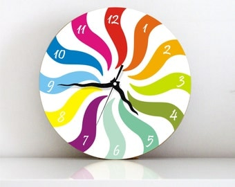 Rainbow colorful Geometric kids bedroom modern large handmade unique graphic design wall clock